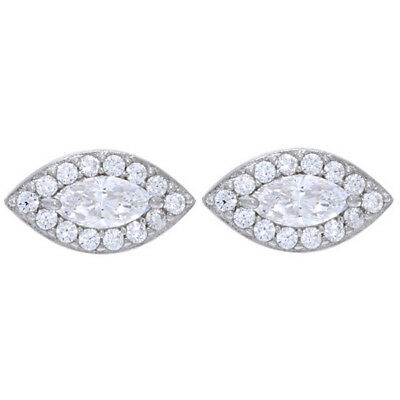0.75 Ct Marquise & Round Cut D/VVS1 Halo Stud Earrings, Sterling Silver