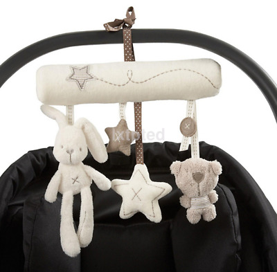 Kid Baby Crib Cot Pram Bed Stroller Hanging Plush Toy Rabbit Bear Bell& Music ~
