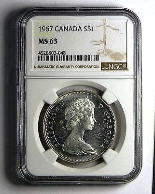 1967 S$1 Canada Silver Dollar NGC MS 63 Business Strike