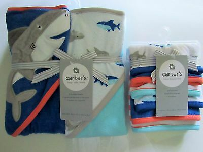 Carter's Baby Boy 8 Piece Shark Hooded Towels and Washcloth Set