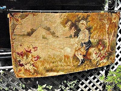ANTIQUE 1800s FRENCH HAND-WOVEN WOOL TAPESTRY WALL HANGING***CLEAN***36in x 70in
