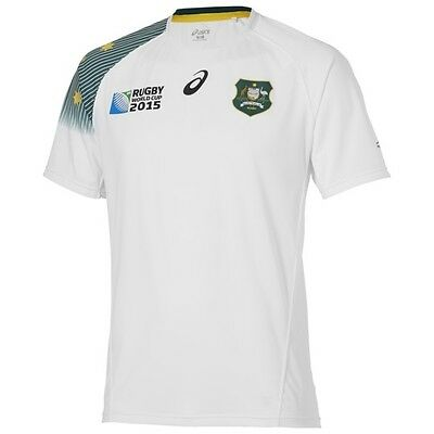 Asics Wallaby Away Rugby World Cup 2015 Mens Short Sleeved Shirt Rugby Jersey