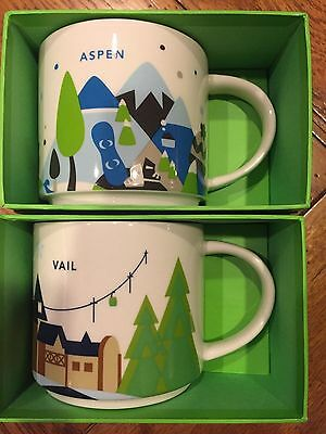 "Starbucks ""You Are Here"" 2 Coffee Cups Mugs YAH - Aspen + Vail Set"