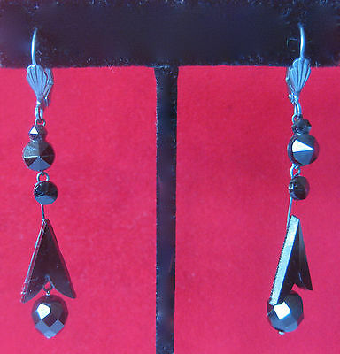 Pair of Victorian - 19th Century Black Vauxhall Glass Earrings