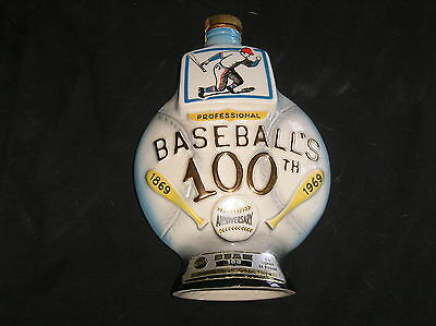 1969 Jim Beam Baseball's 100th Anniversary Collectable Decanter Bottle