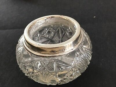 silver topped pressed glass rose bowl