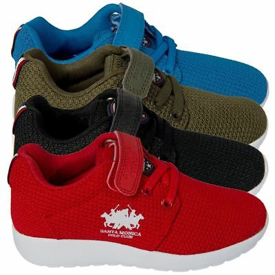 Santa Monica Polo Club Boys  Junior Trainers Lace Up Shoes Kids Sports Footwear