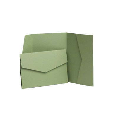 Sage Matte Pocketfold invitations with envelopes. Pocket wedding invites