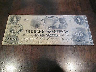 1854 $1 THE BANK OF WASHTENAW MICHIGAN Obsolete Currency Banknote