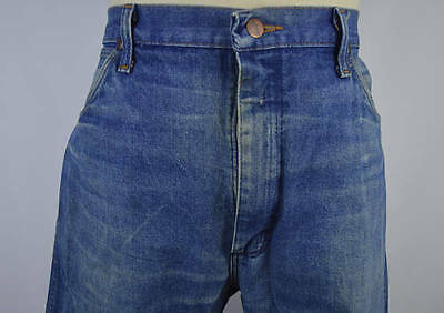 Vintage 1990s Made in USA Faded Blue Work Jeans by Wrangler Size 36 x 32