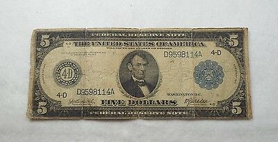 Series 1914 Large Size Blue Seal $5 Fed Reserve Note 4-D Cleveland GOOD Fr#856