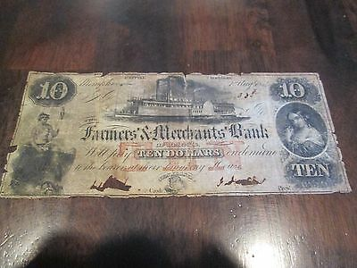1854 $10 The Farmers & Merchants Bank of Memphis, TENNESSEE Obsolete Banknote