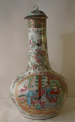 Large 19th Century Chinese Cantonese Famille Rose Bottle Vase A/F