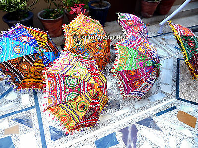 Indian Parasols Antique Hand Embroidered Umbrella Decor Vintage 5Pc Wholesale