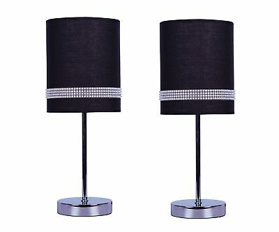 Bedside lamp pair grey with matching shades for Bedside table lamp shades