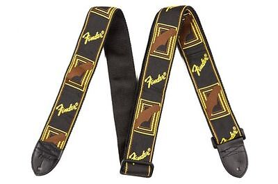 "Fender 2"" Monogrammed Guitar Strap, Black, Yellow, and Brown, NEW! #14655"