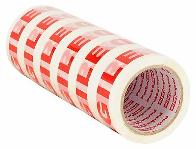 Strong Packaging Tape Red Warning FRAGILE Printed For Parcels Boxes 6 Rolls