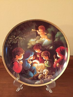 "Precious Moments ""Come Let Us Adore Him"" Plate #2811V.  1991.  UNM.  Mint."