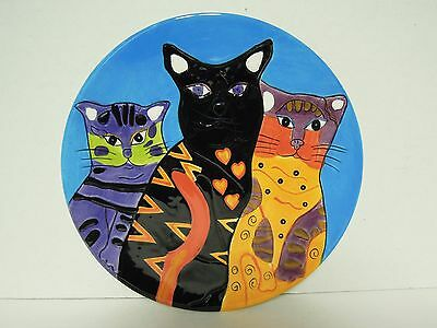 """Colorful Cats 8"""" diameter Glazed Plate"""