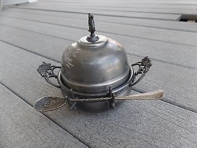 Victorian Vintage Silver Plate Butter Dish With Spoon Warner Silver Mfg Co