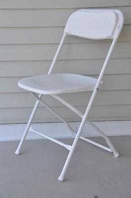 50 Plastic Folding Chairs Commercial White Stackable Wedding Party Event Chair