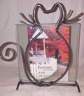 Cat Kitty Photo Picture Frame glass metal Whiskers Fall Halloween decor 4X6
