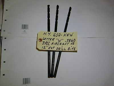 """Lot Of 3-Pcs-New York-Usa-""""w""""-Aircraft Extension Drill Bits-New- Letter """"w"""""""
