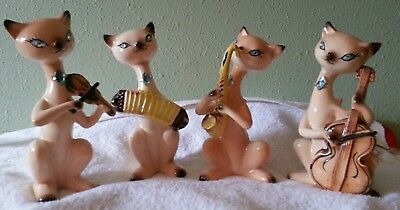 Vintage Enesco Set 4 Siamese Musical Cats Violin Cello Sax Accordion Made Japan