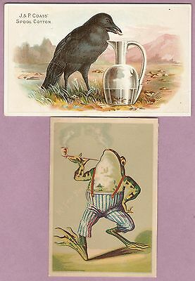 2 Victorian Trade Cards - J P Coats Crow & Frog