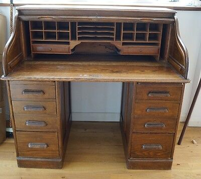 Edwardian 1910 Antique Oak Wood Tambour S-Roll Top Bureau Desk With Lock & Key