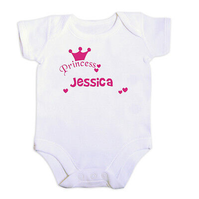 PERSONALISED Baby Vest. PRINCESS. All sizes. Babies Name. Bodysuit. Girls Name