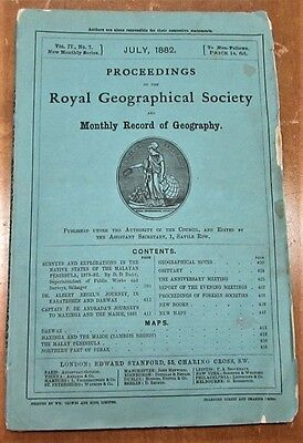 scarce 1882 maps & explorations Royal Geographical Society - Malaysia Singapore
