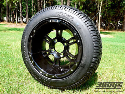 """Golf Cart 12"""" NightRyder Wheels With 215/50-12 Cruze LoPro Tires (Set of 4)"""