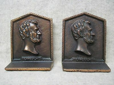 Vintage Pair Abraham Lincoln Bookends, Cast Iron With Copper Plate, Very Good