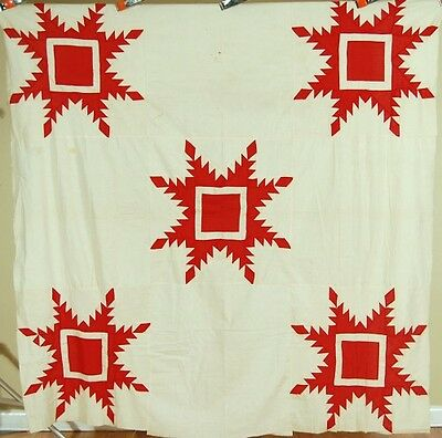VIBRANT Vintage 1890's Red & White Feathered Star Patchwork Antique Quilt Top!