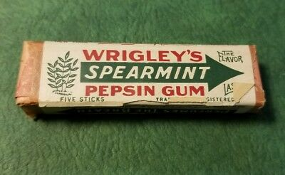 Vintage Wrigley's Spearmint Pepsin Gum Full Five Stick Pack