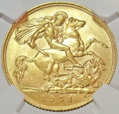 1908 Gold Great Britain 1/2 Sovereign Edward Vii Coin Ngc About Unc 58