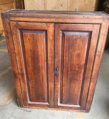 OLD 2 DOOR CUPBOARD WITH KEY IN DARK WOOD WITH REMOVABLE SHELVES 87cm W & 108 H