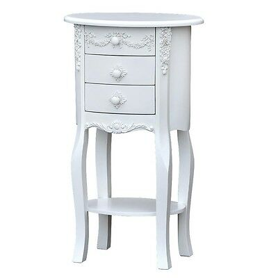 Beautiful Shabby Chic White French Style Ornate 3 Drawer Oval Bedside Cabinet