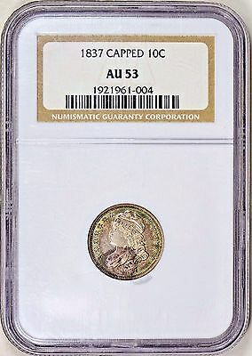 1837 Capped Bust Dime NGC AU-53 *Great Toning*