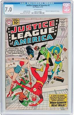 Justice League Of America #5  Cgc F/vf 7.0 - Wonder Woman, Aquaman, Flash - 1961