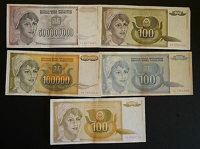 Yugoslavia Banknotes 1990 1991 1992 and two 1993 inflation Notes