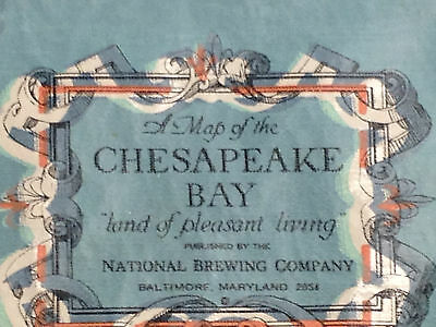 Vintage National Brewing Company Chesapeake Bay Map Vinyl Table Cloth