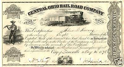 RARE HISTORIC 1870's ZANESVILLE OHIO RR STOCK! 3 VIGNETTES incl TRAIN!! CV $100!