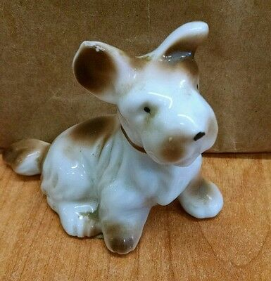Vintage Porcelain Brown & White Terrier Dog Figurine Signed Japan