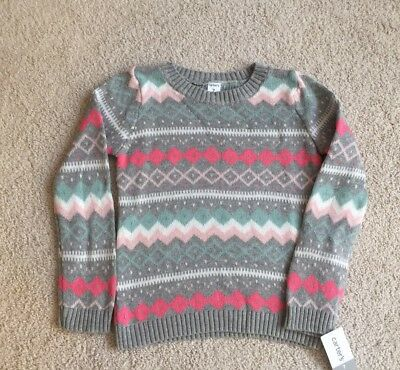 NWT Carter's Pullover Sweater Girls Size 7 Pink Gray BTS
