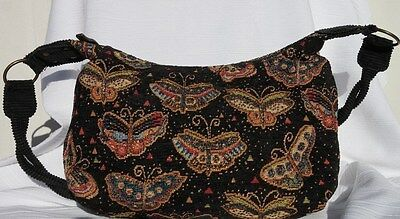 Laurel Burch Woven Cotton Multi - Butterfly Tapestry Tote Bay / Corduroy Straps