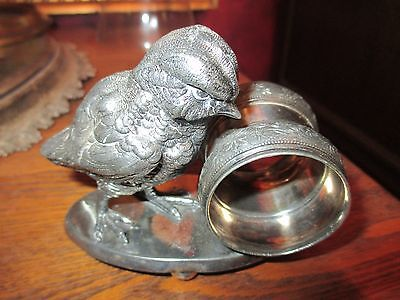 Antique Meriden Silverplate Figural Victorian Napkin Ring - Giant Chick