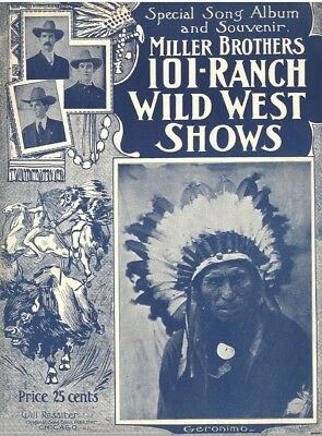 Sheet Music Cover Miller Brothers 101 Ranch Wild West Geronimo Buffalo Print 583