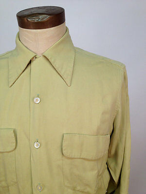 Vintage 40s/50s Loop Collar Gabardine Shirt w/French Cuffs by Sportswear by Gord